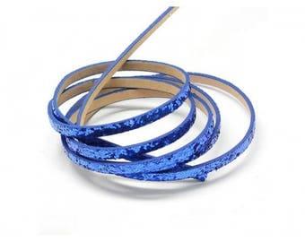 1.2 m cord faux leather flat blue Paillete 5 mm