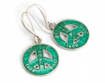 Peace Sign Earrings, Peace Earrings, Hippie Earrings, Hippie Jewelry, Peace Sign, Hope Earrings, Love Earrings, Silver Earrings E125