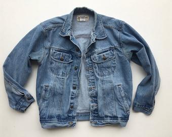 Vintage Wrangler Jean Jacket / Denim Jacket Medium Wash / Womens M /L Mens S / M