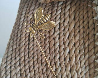 Vintage signed copper bee stick lapel pin brooch