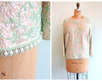 Vintage 1960's Mint Green Botanical Beaded and Sequin Sweater | Size Large