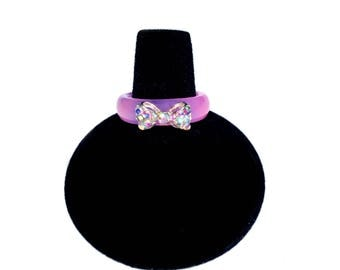 Purple Glass Ring with Crystal Bow Embellishment