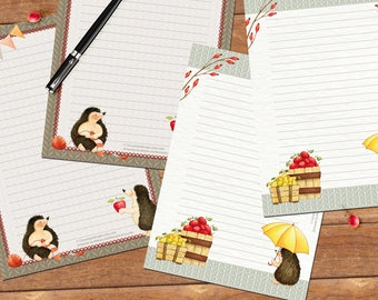 Hedgehog set - DOWNLOAD file - printable writing paper - 2 designs - A5 size