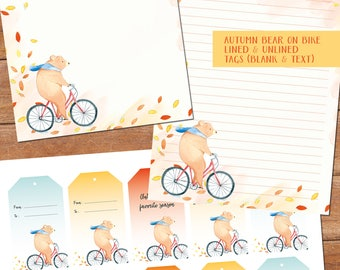 Autumn bear on bike (+tags) - DOWNLOAD file - printable writing paper - A5 size - plus matching tags