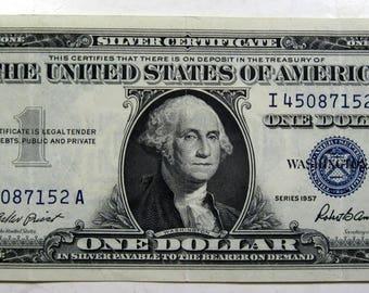 1957 silver Certificate one dollar paper money (#E720a)