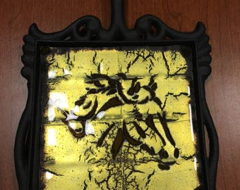 "Gold Reactive Fused Glass 6""x6"" Horse Head Trivet! Stunning!!!"