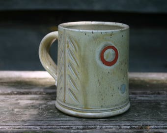 Tan Coffee Mug with Dots