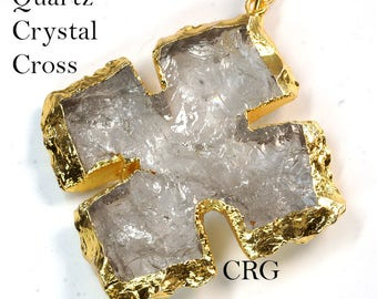 """Gold Plated Crystal Cross Pendant 2"""" - Large (CR14DG)"""