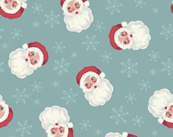 Christmas Fabric Vintage Santa Faces Blue Lewis & Irene Cotton Fabric