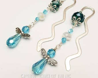 Blue mini bookmark, Beaded bookmark, Angel bookmark, Unique Bookmark, Blue angels,  Book Accessories, Gifts for teachers under 10
