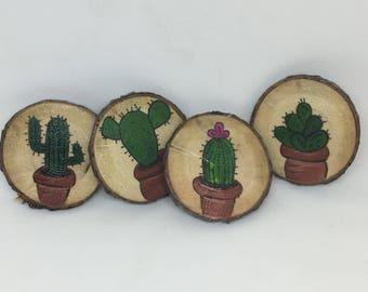 Cactus magnet. Cactus wooden fridge magnet