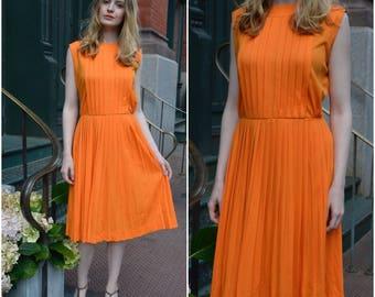 On Sale! Bergdorf dress | vintage 1960s dress | tangerine 60s pleated dress