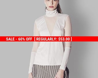 60% OFF SALE SALE, White Sheer Shirt