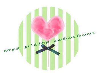 25 mm - nice glass ref heart lollipop cabochon