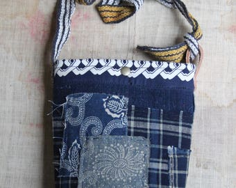 Japanese sashiko stitched boro mini shoulder bag