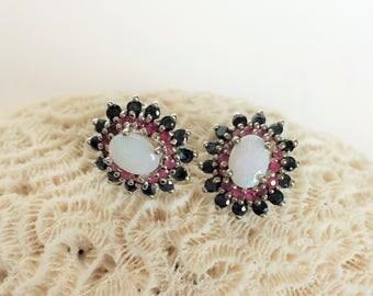 Sapphire Ruby & Opal Earrings, Sterling Silver Multi Stone earrings Cluster Earrings 4.6g