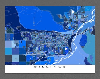 Billings Map Print, Billings Montana, USA City Art Maps