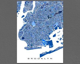 Brooklyn Map Print, Brooklyn New York City, Art Prints NYC Artwork