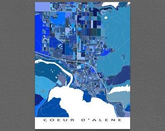 Coeur D'Alene Map Print, Coeur d'Alene, Idaho, City Art Poster