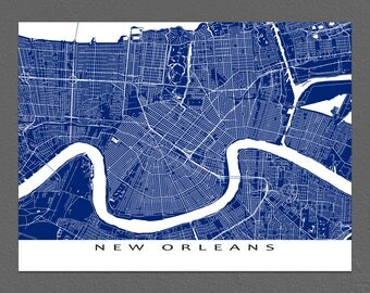 New Orleans Map Print, New Orleans Art, New Orleans Louisiana, USA City Map Prints
