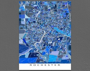 Rochester NY Map, Rochester Map Art Prints, New York State City Poster