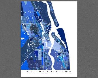 St. Augustine FL Map, St. Augustine Florida Print, Florida Art