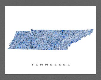 Tennessee Map Print, Tennessee Art, TN State Wall Artwork
