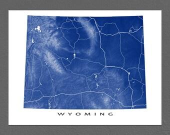 Wyoming Map Print, Wyoming State Art, USA, Map Poster