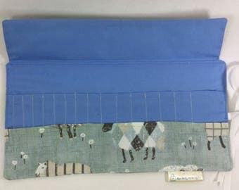 Crochet hook case, crochet hook organiser, roll up crochet hook case,sheep crochet hook case, hook roll up case,