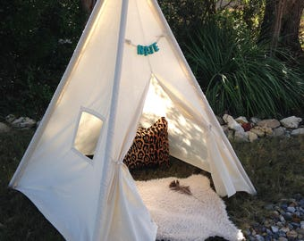 3, 4 & 5 pole teepee, add you own poles or order  wood poles in separate  listing and I will assemble. FREE MONOGRAMMED NAME