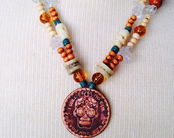 RMJ Tactical Challenge Coin necklace/ Copper pendant has 2 sides/ Sugar skull jewelry/ Rustic style/ Twist strands for more interesting look
