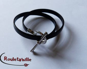 Black leather, silver bracelet