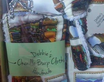 On Sale Trains Baby bib set/drool bib/ teether/burp cloth/teething ring