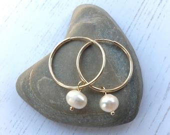 Gold hoop earrings, Gold and  freshwater pearl hoop earrings. Gold fill hoop and white pearl earrings. Wedding earrings, gift for her.