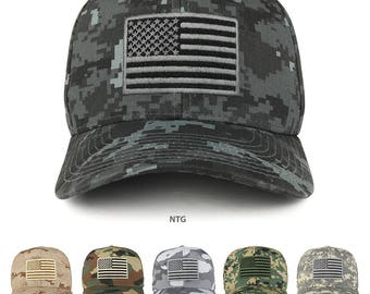 American Flag Embroidered Camo Tactical Operator Structured Cotton Cap (T76-USA-CAMO)