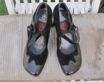 Vintage Red or Dead ladies crushed patent and suede shoes from the 1980s