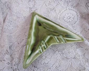 Green Chevron Ashtray, Vintage Pottery