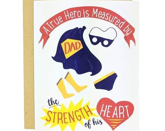 A True Hero is Measured by the Strength of His Heart | Father's Day Card | Birthday Card for Dad | Illustration | Folk and Fauna Co