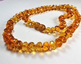 Amber necklace faceted