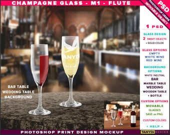 Champagne Glass M-1 Flute | Empty, White & Red Wine | Photoshop Print Mockup | Bar Wedding Table | Smart object Custom colors