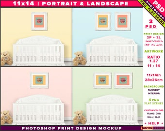 Nursery Interior Photoshop Print Mockup 1114-N5 | Portrait & Landscape Set of 2 Ornate Frames | White crib | Smart object Custom colors
