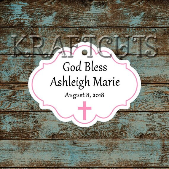 Personalized Favor or Gift Tags - God Bless Baptism Tags with Pink Border #781 - Quantity: 30 Tags