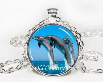 Dolphins-Glass Pendant Necklace/Graduation gift/mothers day/bridal gift/Easter gift/Gift for her/girlfriend gift/friend gift/birthday gift