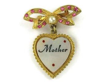 """Vintage """"Mother"""" Heart Brooch"""