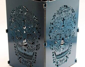 Sugar Skull, Navy Blue Sugar Skull Light Box, Candle, Candle Holder, Day Of the Dead, Dia De Los Muertos, Mexican Skull, Mexican Sugar Skull