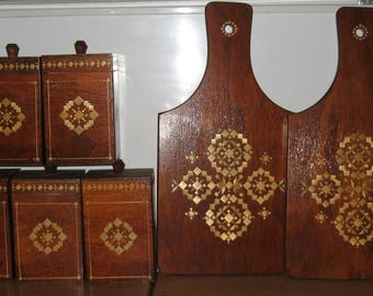 Vintage Soviet Wooden Kitchen Accessories. Varnished. Inlaid with straw.