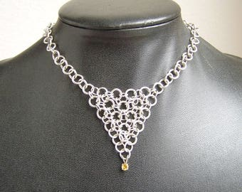 Sterling Silver Filled Chainmaille Necklace with 4mm Citrine