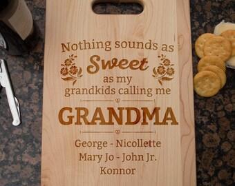 Sweet Grandma Personalized Cutting Board, Wood Cutting Board, Laser Engraved, Maple Cutting Board, Cheese Board, Housewarming gift