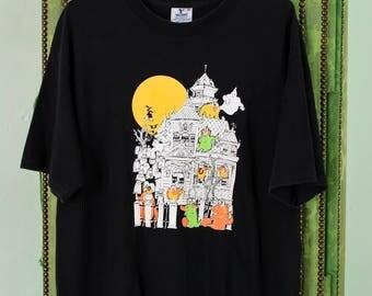 free shipping 1990s Halloween Costume Black T-shirt L XL