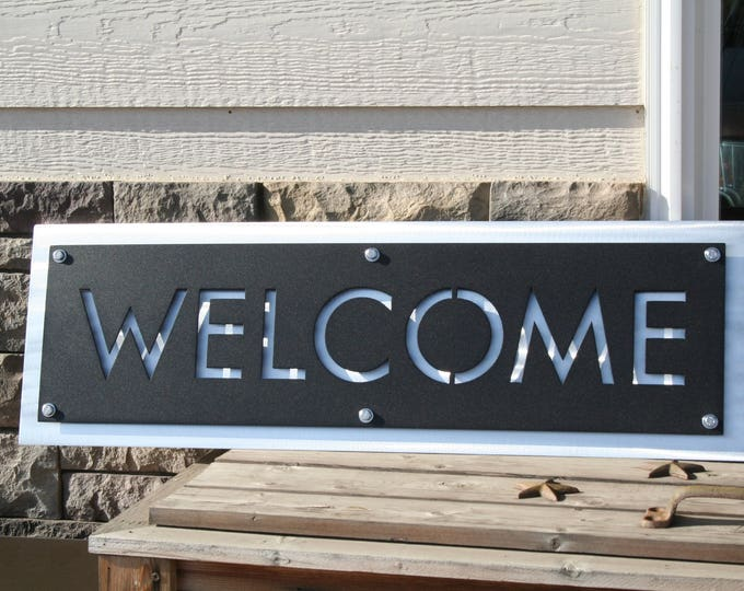 Featured listing image: Metal WELCOME Sign, modern welcome, layered metal welcome, entryway welcome, welcome to our home, outdoor welcome sign, hanging welcome